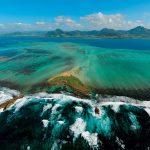 paysage maurice, vol au dessus de la mer