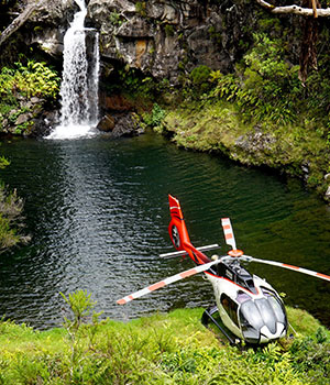 Reunion island waterfall helicopter