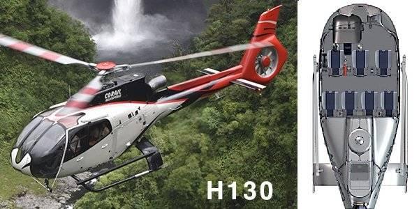 Hélicoptère H130 cabine intérieure